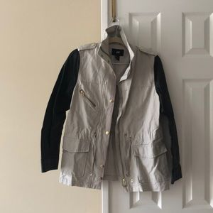 H&M utility jacket with faux leather sleeves